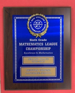 Math League 6th grade 2nd Place