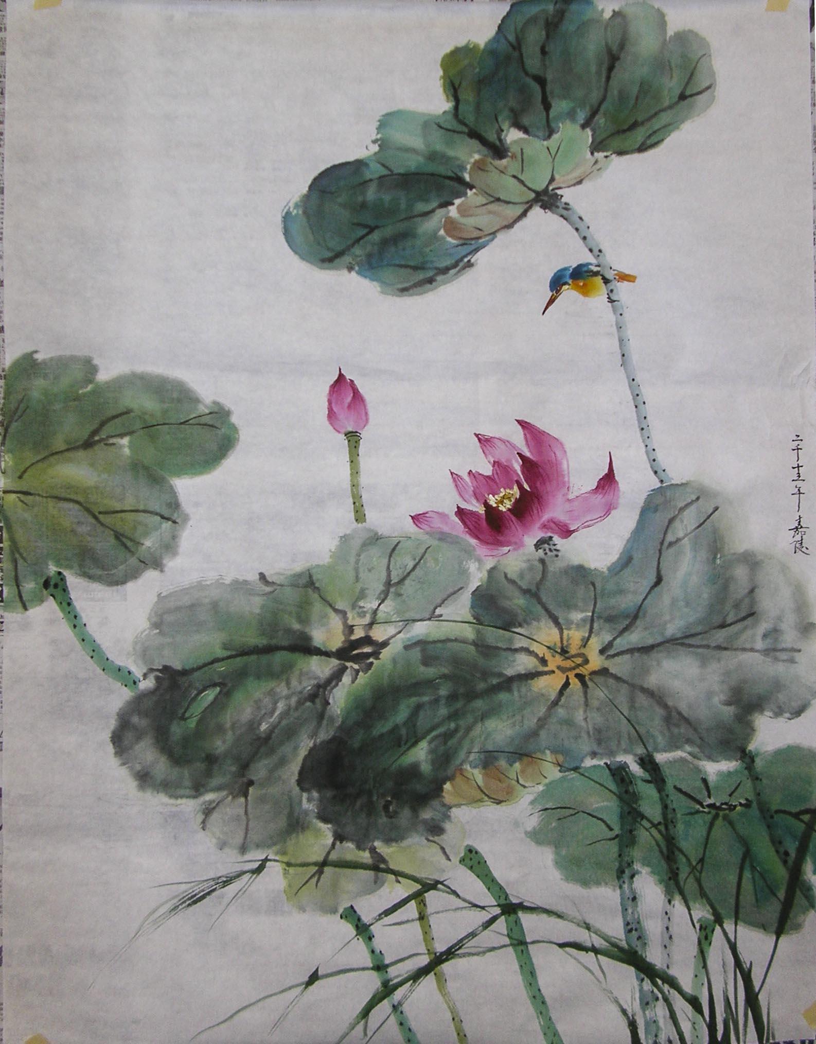 Chinese Lotus Flower Watercolor Red Lotus Flower Mandala Oriental